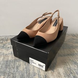 Black and nude suede cap toe shoes